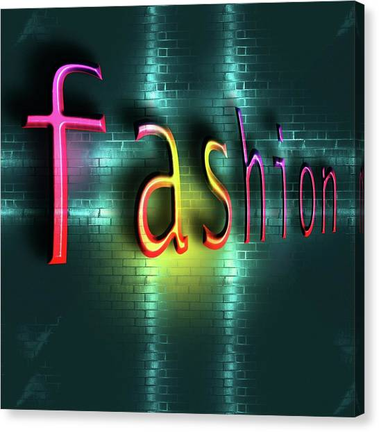 Fashion Plate Canvas Print - Colorful Word Fashion On Blue Reflecting Metallic Background. by Rudy Bagozzi