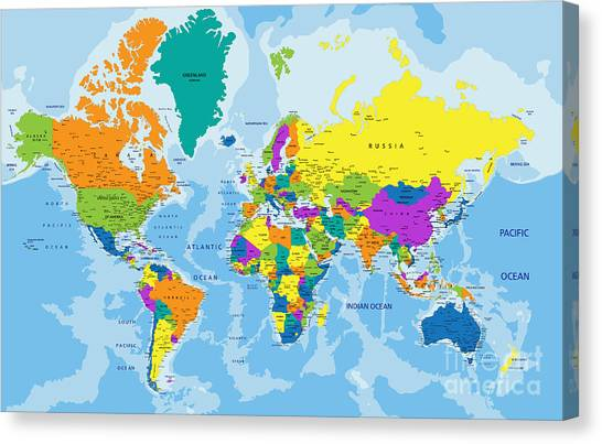 Purple Canvas Print - Colorful World Political Map With by Bardocz Peter