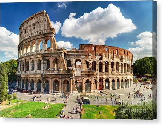 Colosseum In Rome, Italy. Ancient Roman Canvas Print by Viacheslav Lopatin