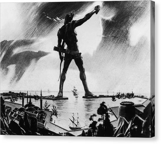 Colossus Of Rhodes Canvas Print by Three Lions