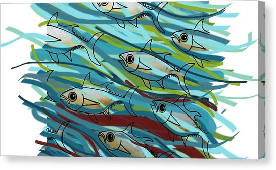 Canvas Print - Coloured Water Fish - Digital Change 2 by Joan Stratton