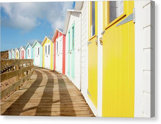 Colourful Bude Beach Huts Canvas Print