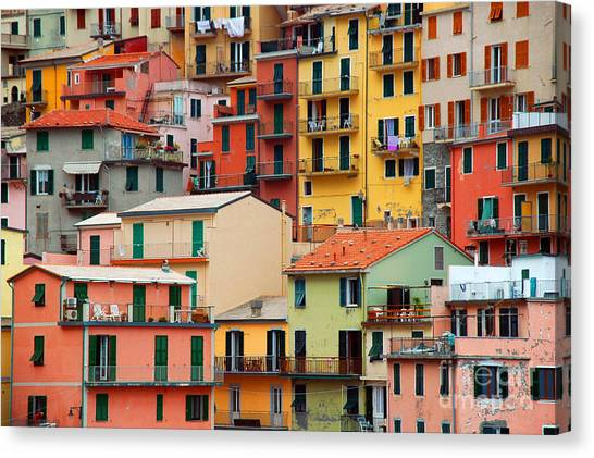 Cliffs Canvas Print - Colourful Texture Of Manarola City Of by Blaz Kure