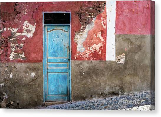 Colorful Wall With Blue Door Canvas Print
