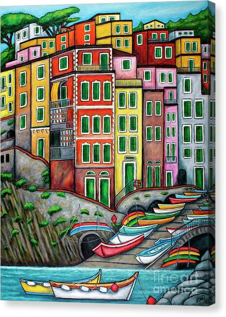 Colours Of Riomaggiore Cinque Terre Canvas Print