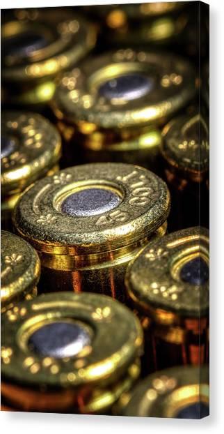 Brass Canvas Print - Colt 45 Ammunition by Tom Mc Nemar