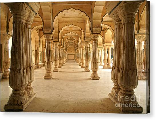 Columned Hall Of Amber Fort. Jaipur Canvas Print by Igor Plotnikov
