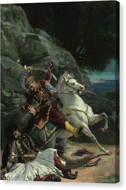 Emir Canvas Print - Combat Of A Greek And A Turk, 1835 by Horace Vernet