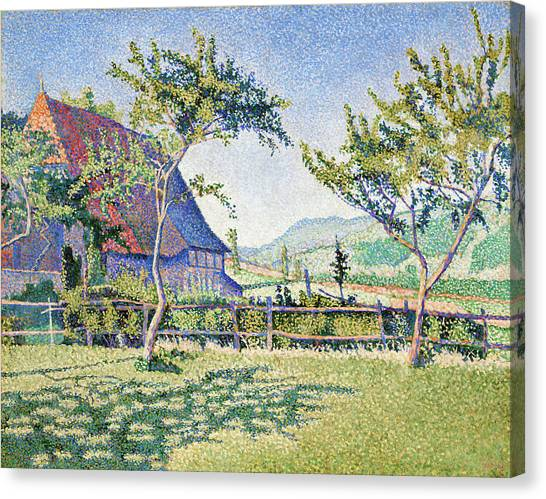 Signac Canvas Print - Comblat-le-chateau, The Meadow - Digital Remastered Edition by Paul Signac