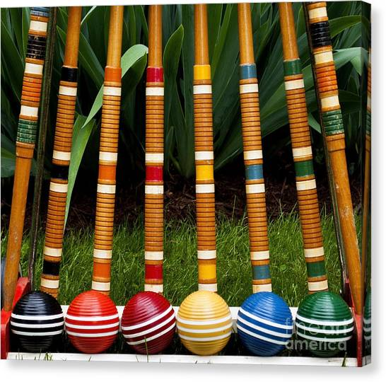 Balls Canvas Print - Complete Set Of Croquet Mallets And by Robert Hale