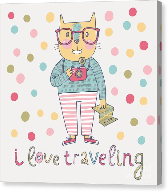 Concept Cat Hipster In Cartoon Funny Canvas Print by Smilewithjul