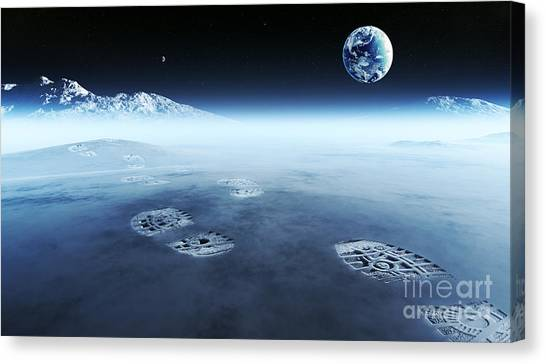 Atmosphere Canvas Print - Conceptual Artwork Of Mankind Exploring by Johan Swanepoel