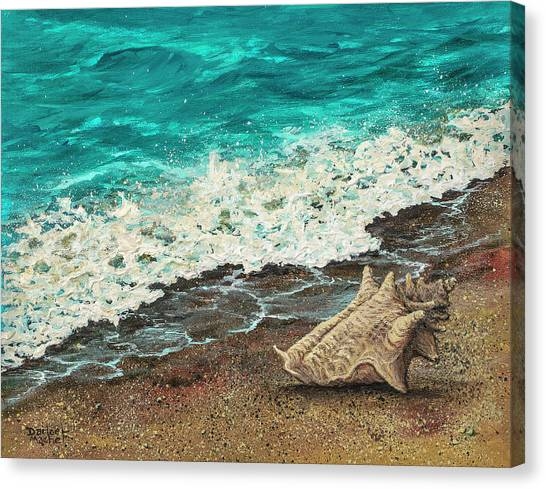 Canvas Print featuring the painting Conch Shell by Darice Machel McGuire
