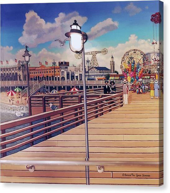 Coney Island Boardwalk Pillow Mural #1 Canvas Print