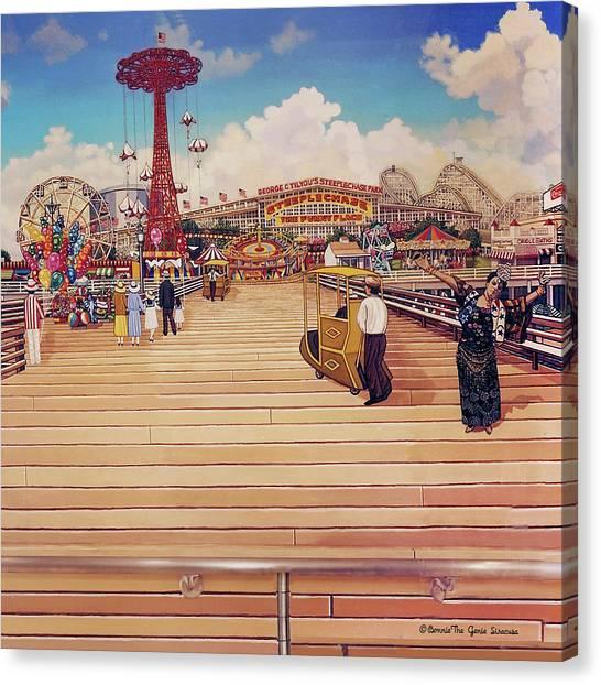 Coney Island Boardwalk Pillow Mural #2 Canvas Print