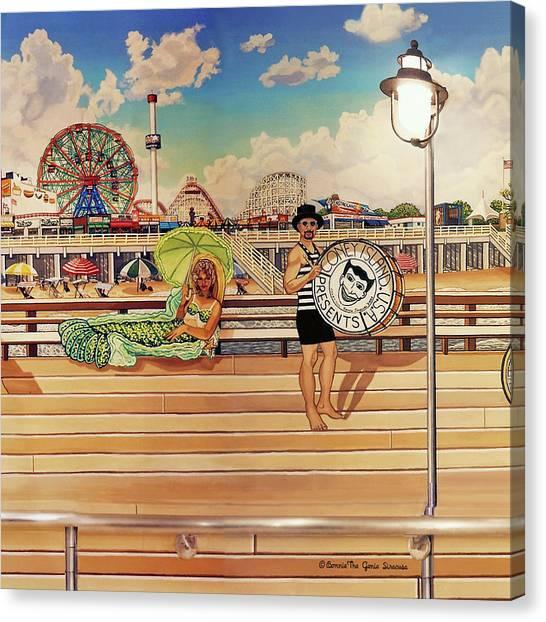 Coney Island Boardwalk Pillow Mural #4 Canvas Print