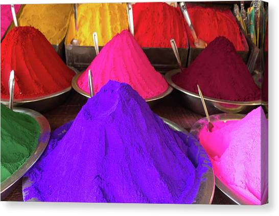 Conical Piles Of Kumkum Coloured Powder Canvas Print