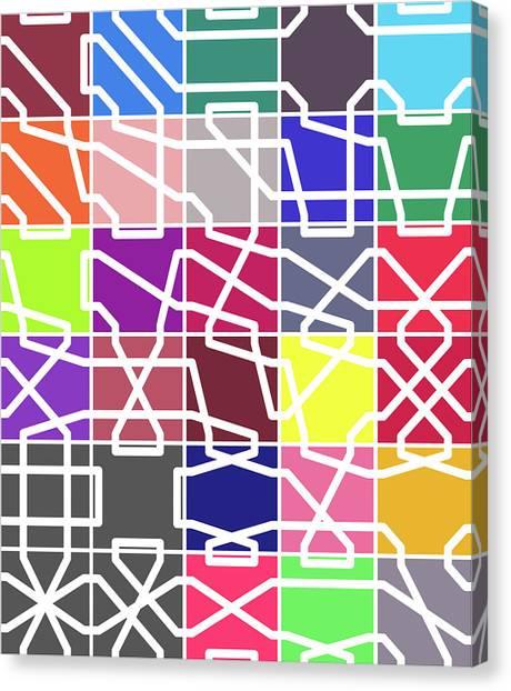 Connect 2 Colour Grid Canvas Print
