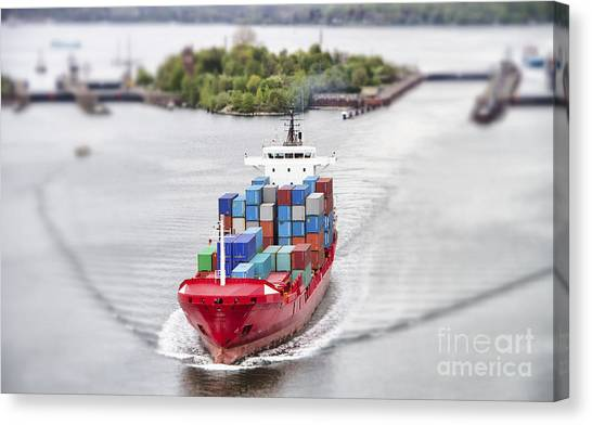 Freight Canvas Print - Container Vessel On Kiel Canal, Germany by Ralf Gosch