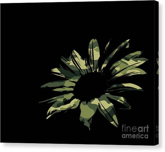Green Camo Canvas Print - Contemporary Flower Green Camo by E Lisa Bower