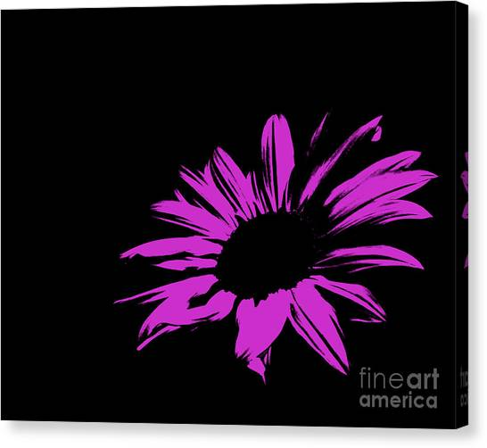 Green Camo Canvas Print - Contemporary Flower Hot Pink by E Lisa Bower