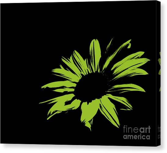 Green Camo Canvas Print - Contemporary Flower Limey Green by E Lisa Bower