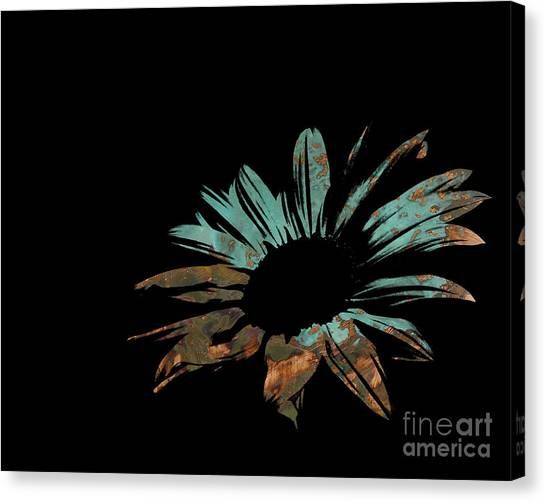 Green Camo Canvas Print - Contemporary Flower Rusty Patina by E Lisa Bower