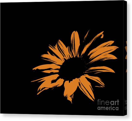 Green Camo Canvas Print - Contemporary Flower Sunset Orange by E Lisa Bower