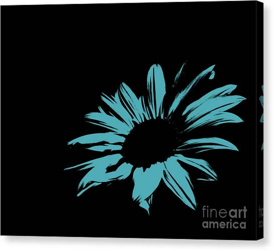Green Camo Canvas Print - Contemporary Flower Turquoise Blue by E Lisa Bower