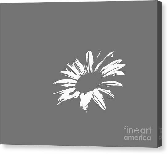 Green Camo Canvas Print - Contemporary Flower White With Gray Background by E Lisa Bower