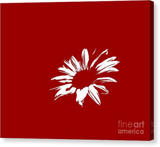 Green Camo Canvas Print - Contemporary Flower White With Red Background by E Lisa Bower