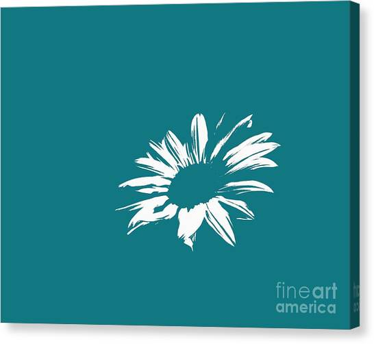 Green Camo Canvas Print - Contemporary Flower White With Teal Background by E Lisa Bower