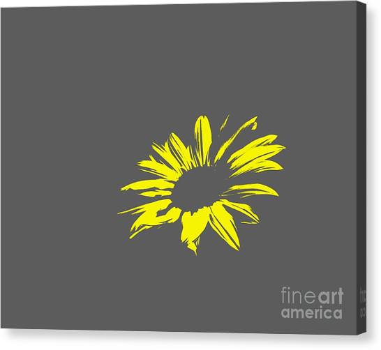 Green Camo Canvas Print - Contemporary Flower Yellow With Gray Background by E Lisa Bower