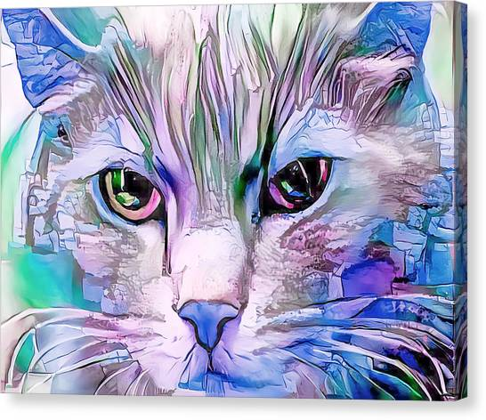 Cool Blue Cat Canvas Print