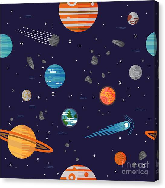 Solar System Canvas Print - Cool Galaxy Planets And Stars Space by Mascha Tace