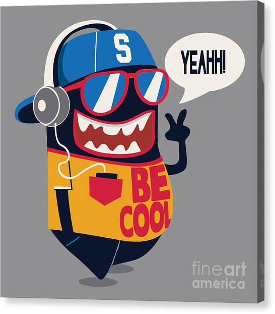 Cool Monster Graphic Canvas Print by Braingraph