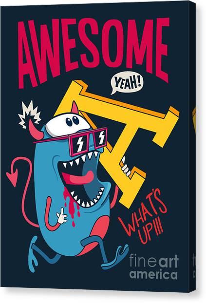 Fun Run Canvas Print - Cool Monster Vector Character Design by Braingraph