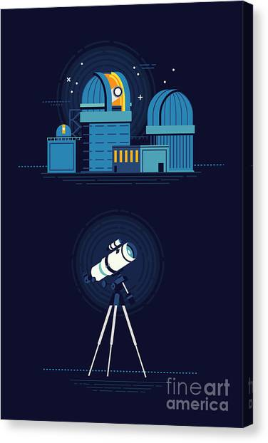 Solar System Canvas Print - Cool Vector Modern Observatory At Night by Mascha Tace