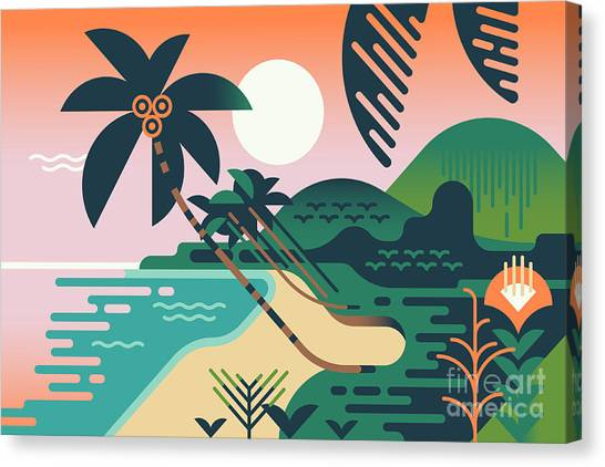Shrub Canvas Print - Cool Vector Summer Vacation Exotic by Mascha Tace