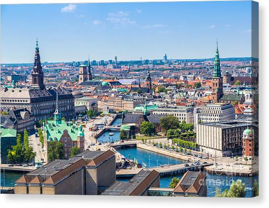 Church Canvas Print - Copenhagen City, Denmark, Scandinavia by S-f