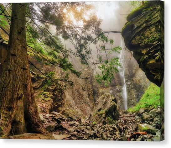 Canvas Print featuring the photograph Copper Falls Mist And Light by Leland D Howard