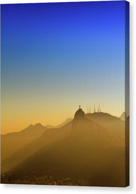Corcovado Mountain And Christ Redeemer Canvas Print by Antonello