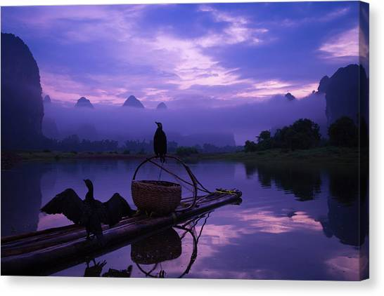 Cormorant On Li River Canvas Print