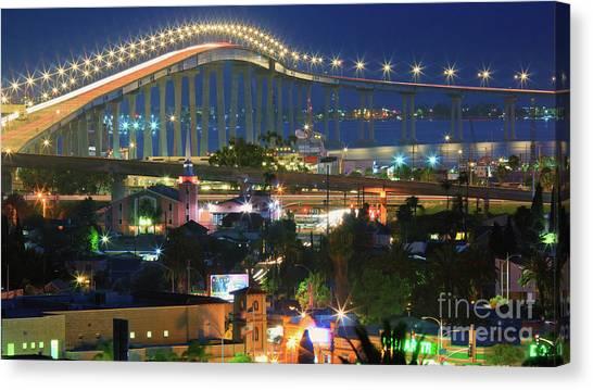 Coronado Bay Bridge Shines Brightly As An Iconic San Diego Landmark Canvas Print