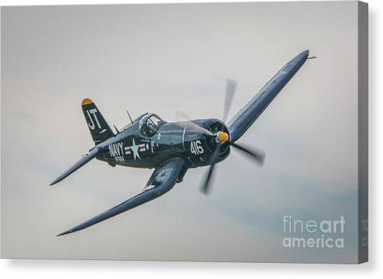 Canvas Print featuring the photograph Corsair Approach by Tom Claud