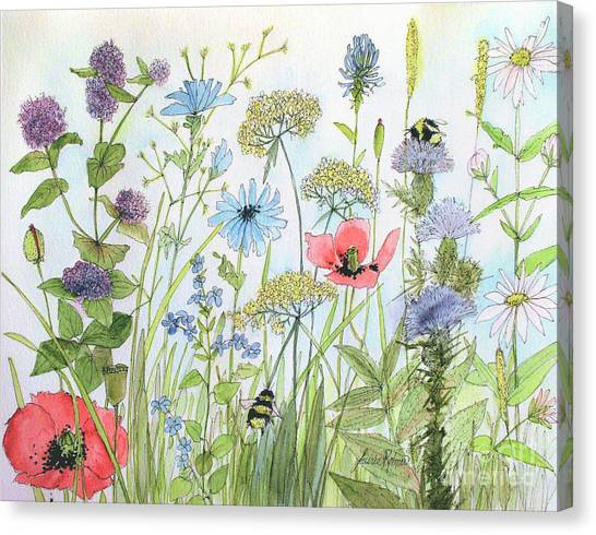 Cottage Flowers And Bees Canvas Print
