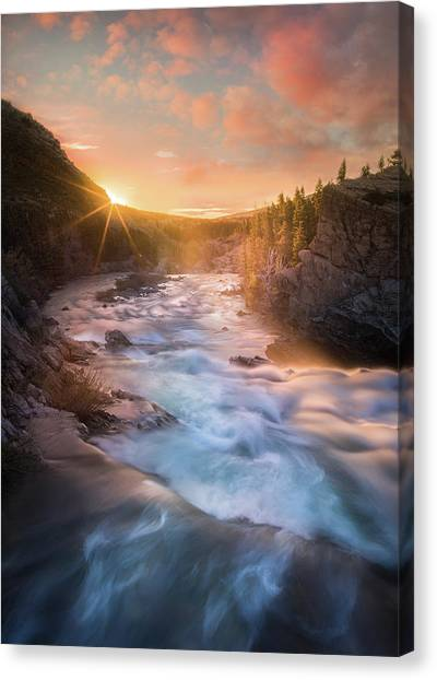 Canvas Print featuring the photograph Cotton Candy Sunrise / Swiftcurrent Falls, Glacier National Park  by Nicholas Parker