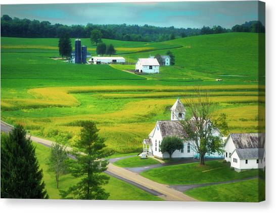 Worship Canvas Print - Country Church by Tom Mc Nemar