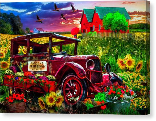 Rusty Truck Canvas Print - Country Market Painting by Debra and Dave Vanderlaan
