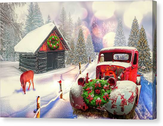 Rusty Truck Canvas Print - Country Mountain Christmas by Debra and Dave Vanderlaan